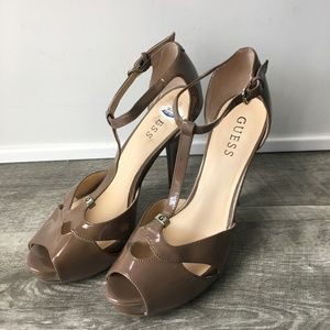 Guess Brown Leather Strappy Heels